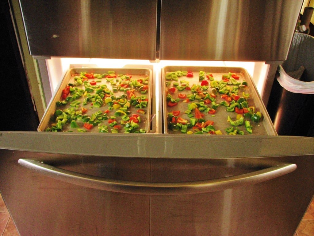 placing peppers in freezer