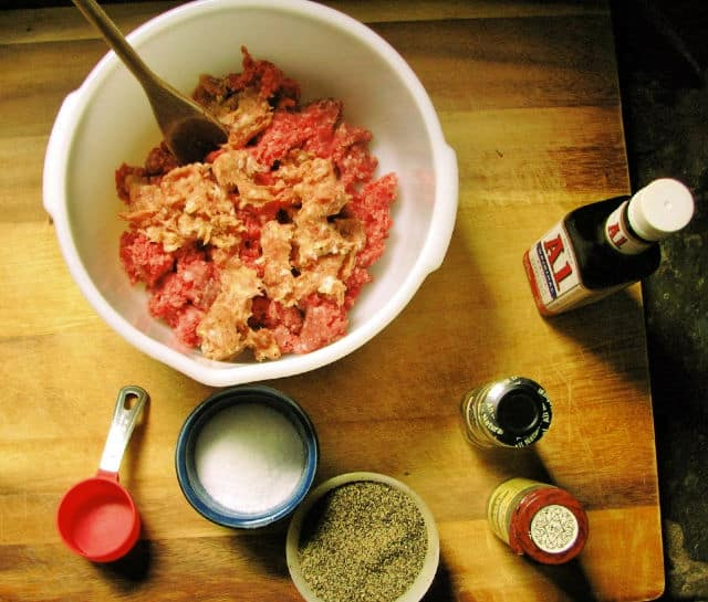 view from above of ground beef and seasoning for hangry hamburger recipe