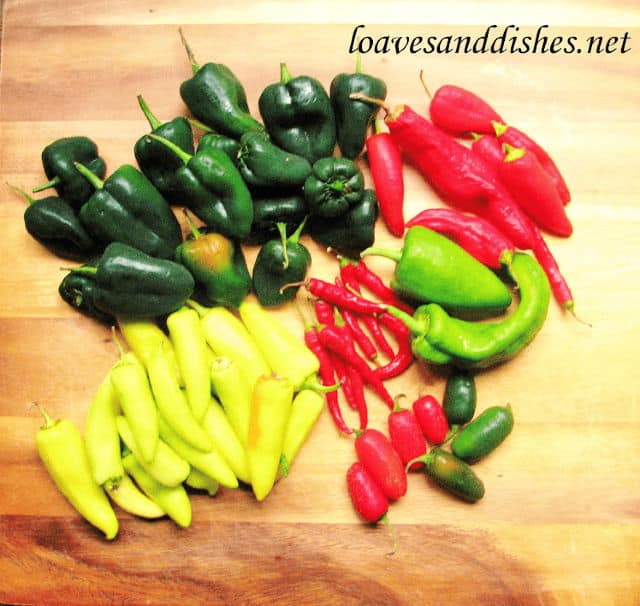 Several kinds of peppers on a cutting board
