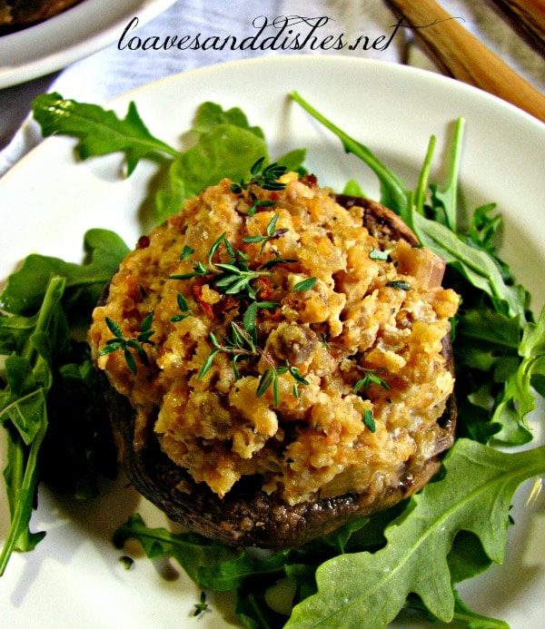 Quinoa and Asiago Stuffed Mushrooms seen @loavesanddishes.net