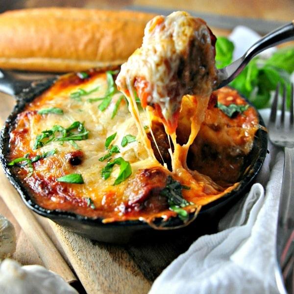 Cheesy Rosemary Meatball Bake @loavesanddishes.net