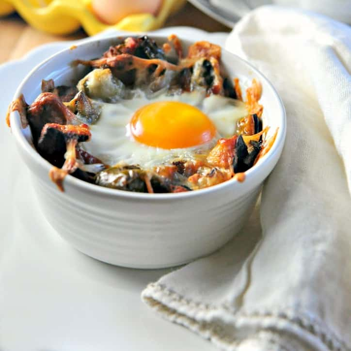 Hashbrown bake with sweet potatoes, and a fried egg