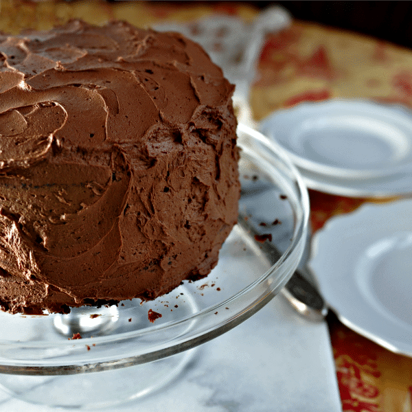 Chocolate cake on a glass cake plate