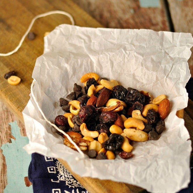 trail mix on bandana