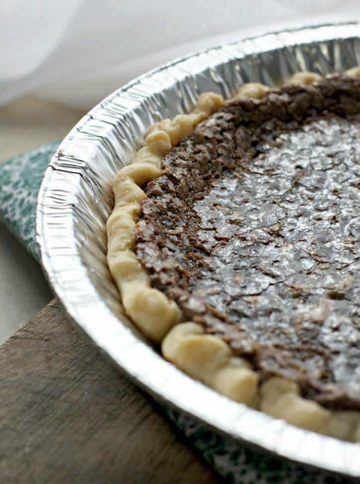 A photo of the glistening edge of the CHOCOLATE CHESS PIE