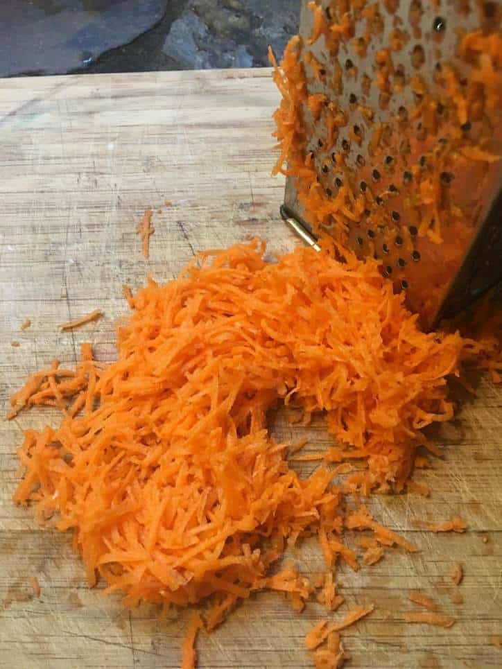 a photo of grated carrots for Southern Carrot Cake with Cream Cheese Icing