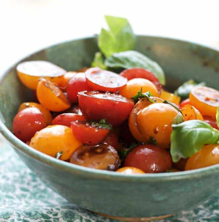 This is an upclose photo of Summer Cherry Tomato Salad