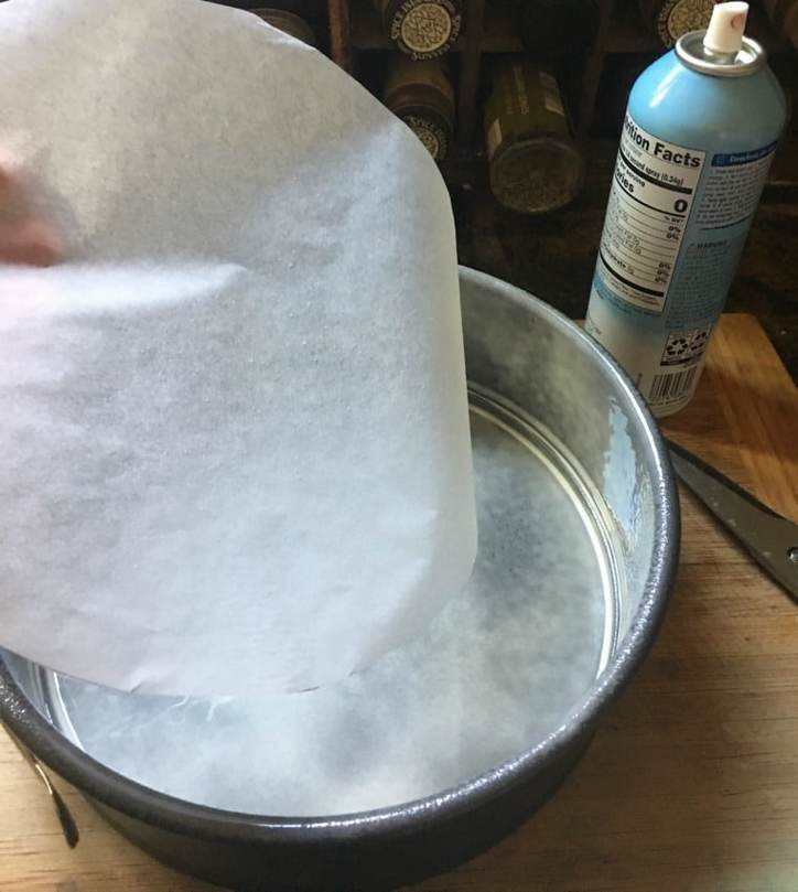A photo of the prepared pan for cinnamon roll cake from scratch