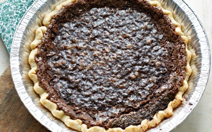 An overhead photo of the CHOCOLATE CHESS PIE