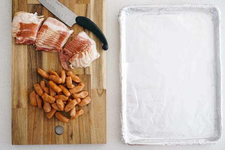 A photo of the ingredients for Candied Bacon Wrapped Smokies