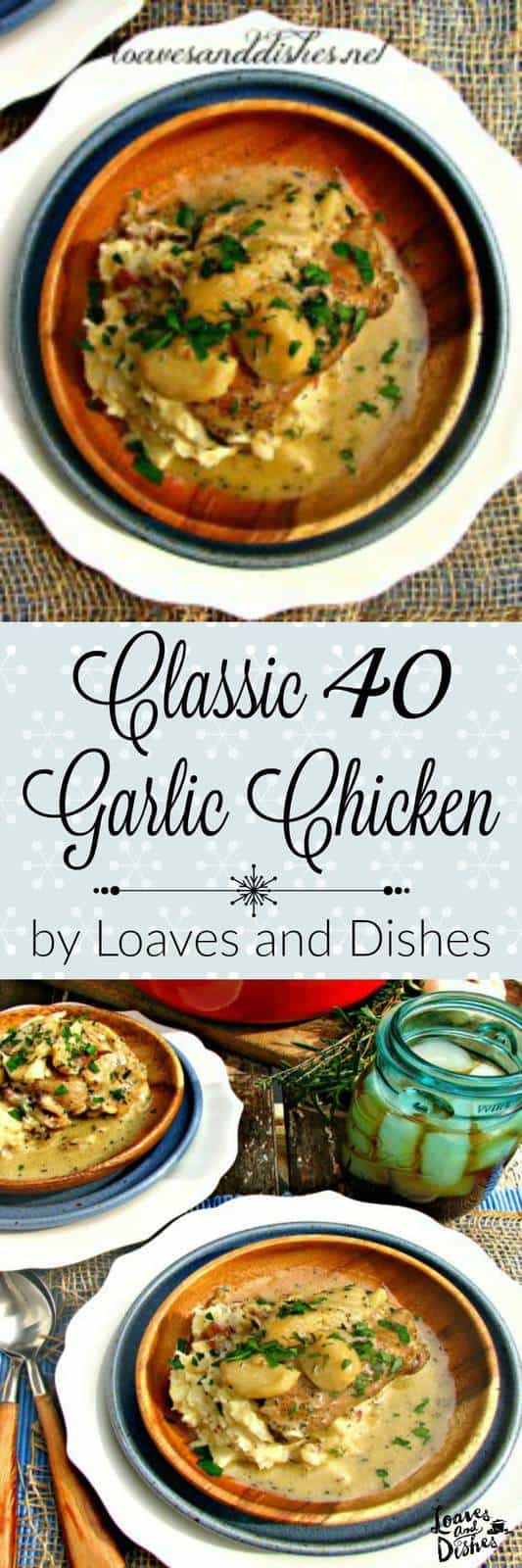 This classic dish of 40 Garlic Chicken will delight you and your friends!  Besides, the house will smell like heaven! PS- Garlic isn't that strong when cooked this way.  You will love it!  Try it this holiday season!