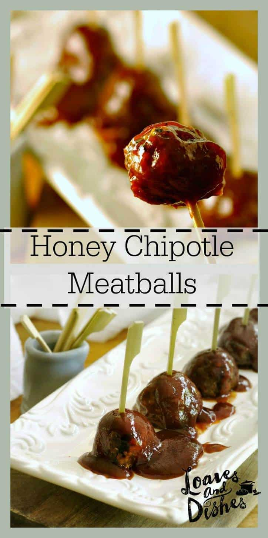 Honey Chipotle Meatballs @loavesanddishes.net