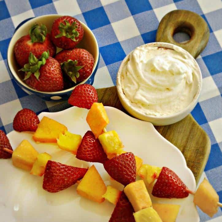 Best Ever Fruit Dip and Fruit skewers @loavesanddishes.net