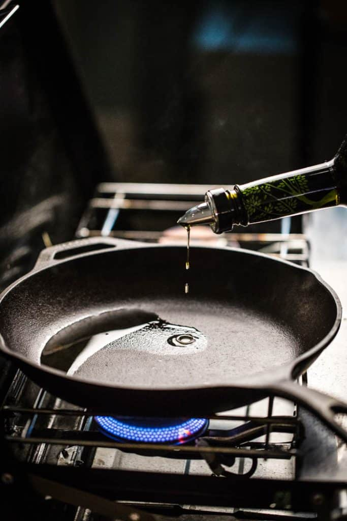 A photo of oil heating in the pan for Tomato Pie