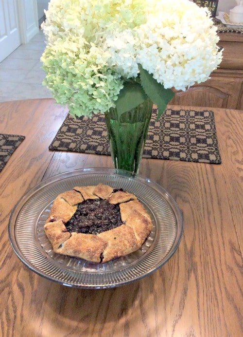 A photo of a rustic blueberry galette made by reader Maria!