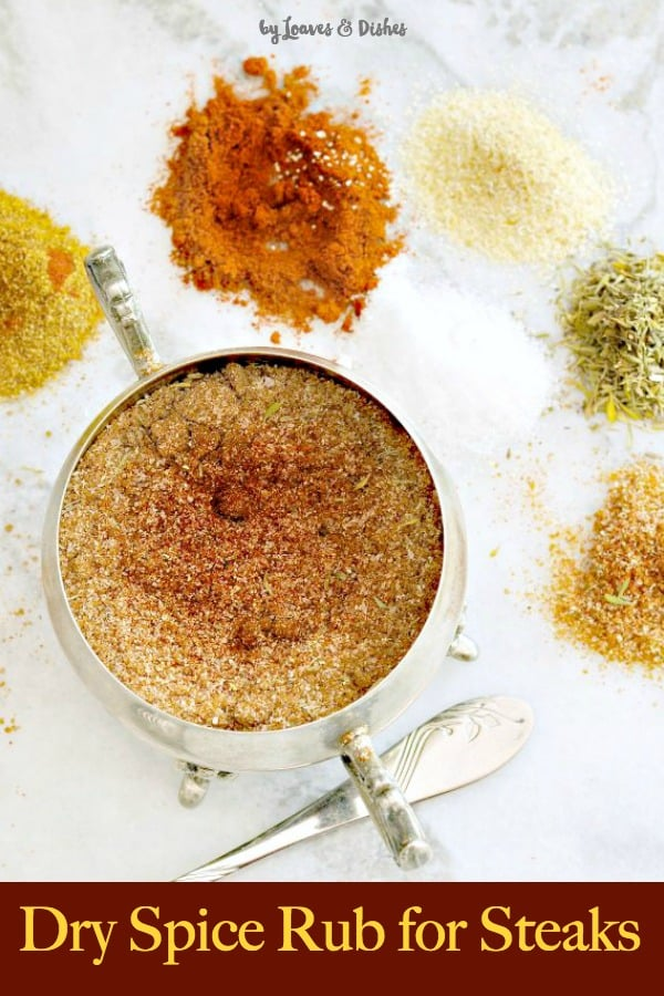 Easy recipe for dry steak rub. Simply apply ahead and then go grilling! Perfect for ribeye or less expensive cuts of meat too.  The best, like Texas Roadhouse, Paula Deen or Pioneer Woman might do #steakrub, #drysteakrub, #dryrubforsteaks, #steakseasoning