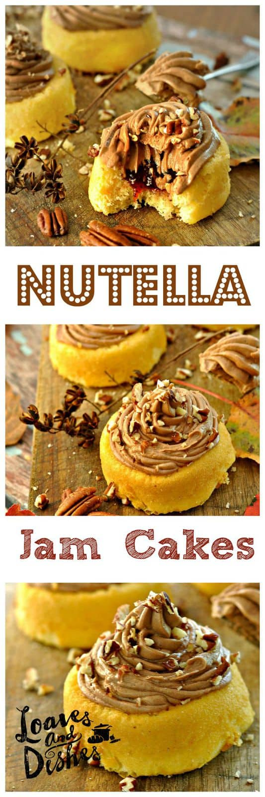 Sweet little cakes - the perfect after school treat! Make for a party instead of cupcakes! Everyone LOVES Nutella! Try these today! www.loavesanddishes.net