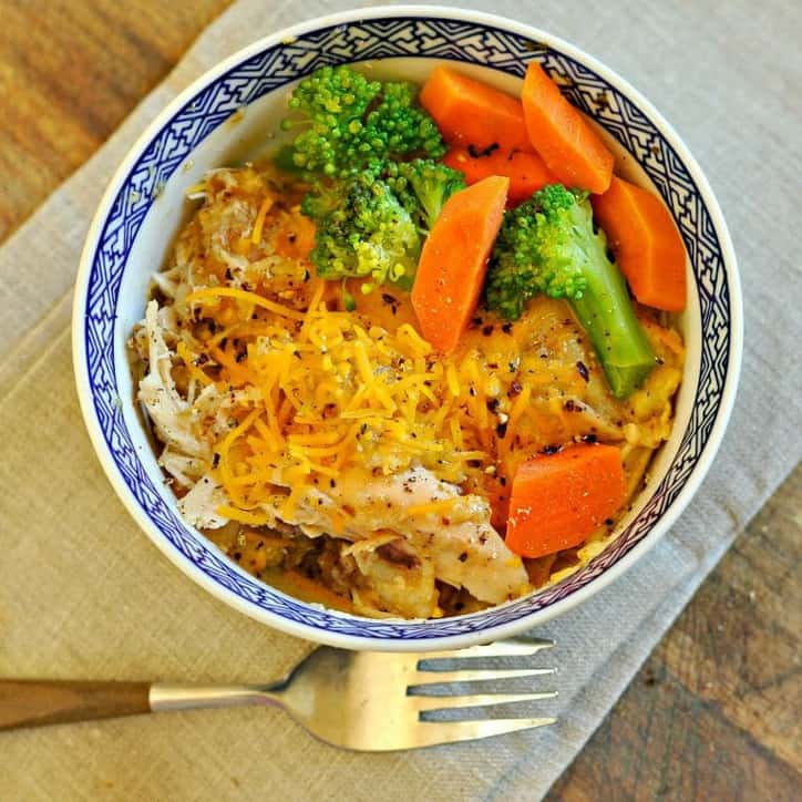 Cheesy Zesty Crockpot Chicken and Rice www.loavesanddishes.net