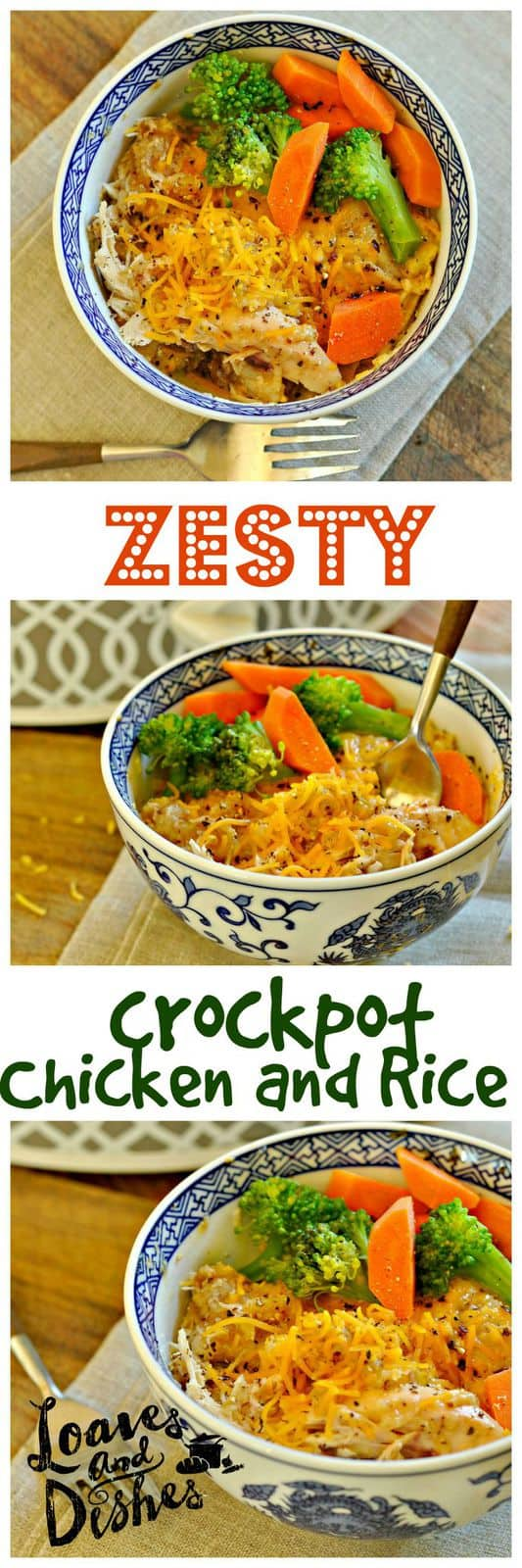 Need a simple weeknight all in one crockpot dinner? Try Zesty Crockpot Chicken and Rice @www.loavesanddishes.net