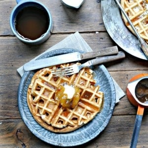 Apple Pecan Waffles with Apple Pecan Topping @ www.loavesanddishes.net