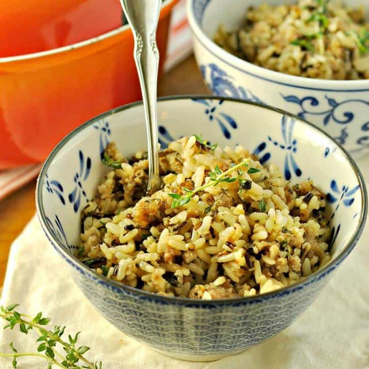 Easy Fast Holiday Side Dish Sausage and Rice @ www.loavesanddishes.net