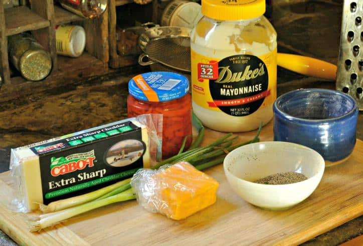 The ingredients gathered together on a cutting board