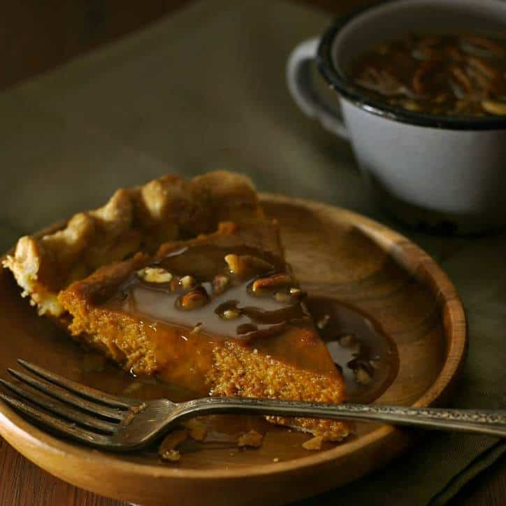 Pumpkin Pie with Pecan Drizzle @www.loavesanddishes.net