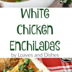 Great way to feed a family on a budget! White Chicken Enchiladas uses a white sour cream sauce made from broth and wonderful spices. Try some today!