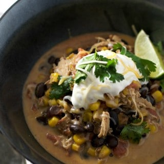 crockpot chicken chili www.loavesanddishes.net