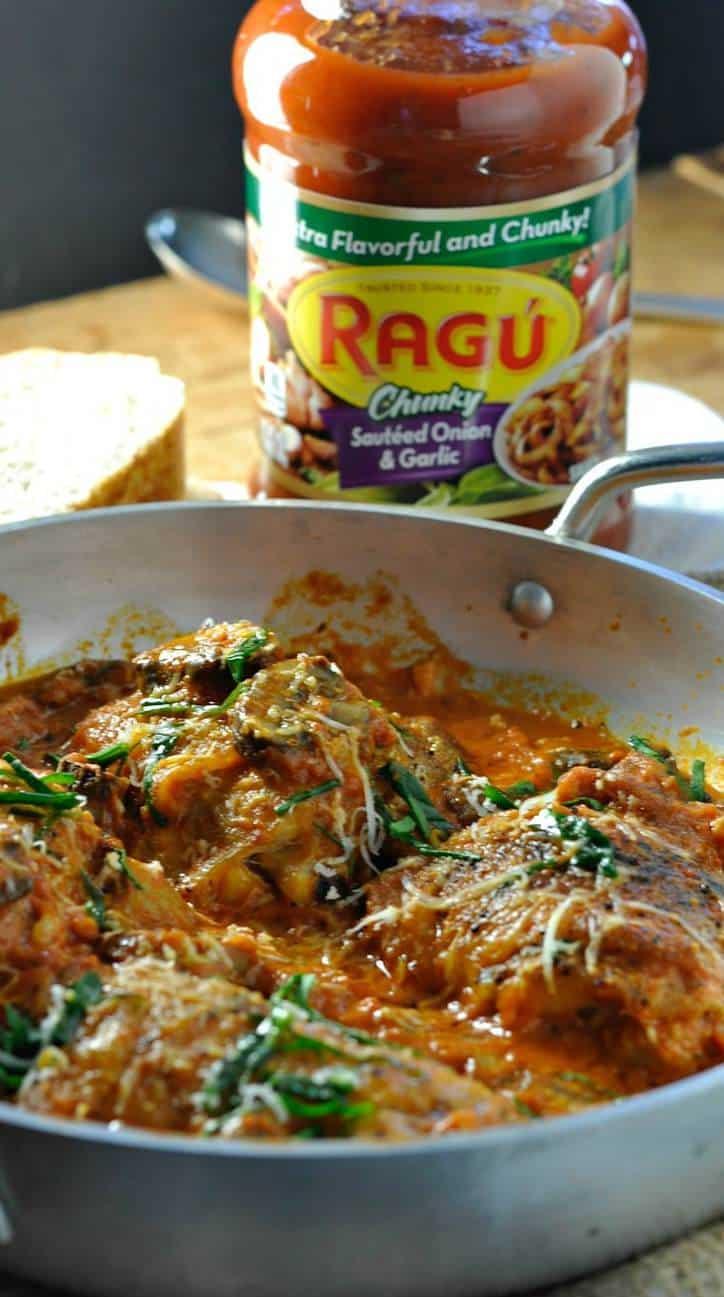 Asiago Mushroom Chicken with Ragu Cream Sauce