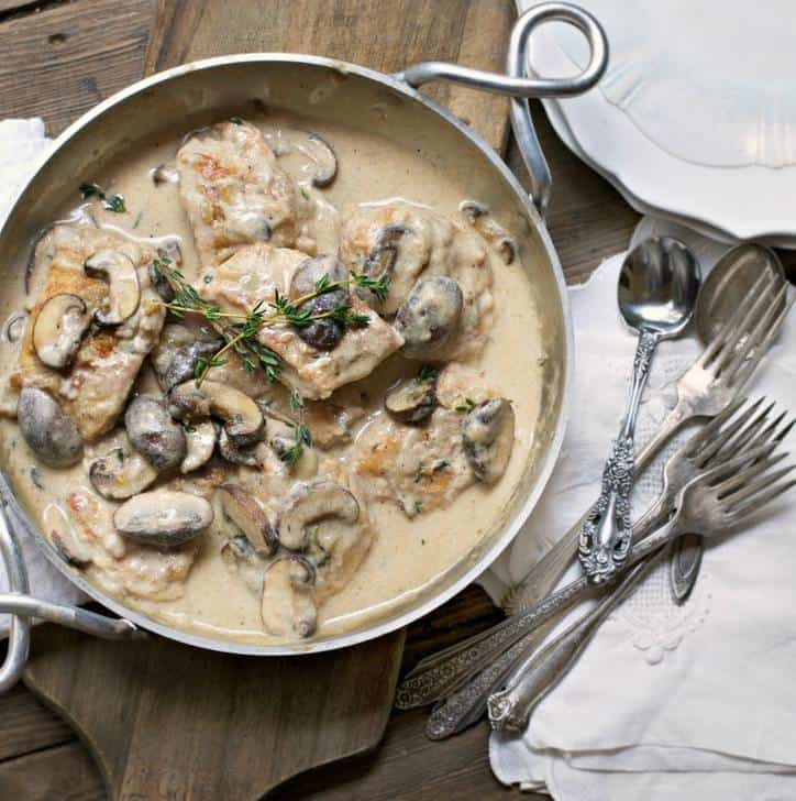 Creamy Thyme Chicken and Mushrooms
