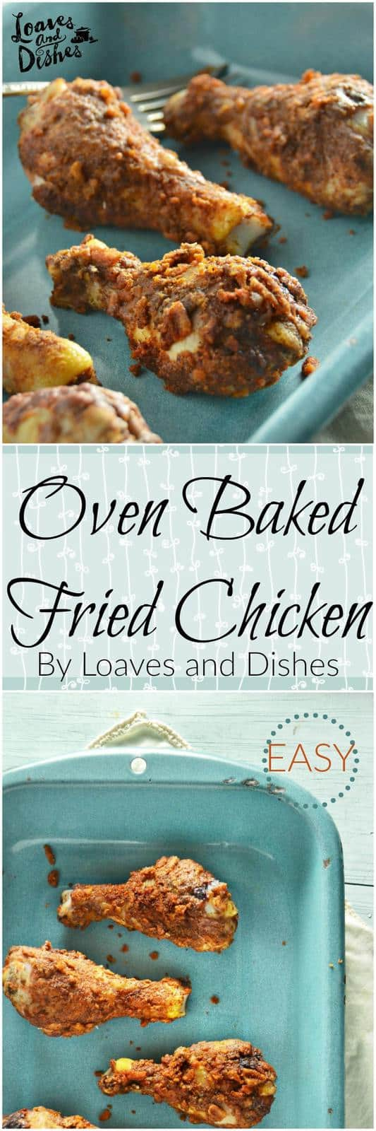 Simple Easy Weeknight Recipe for Oven Baked Fried Chicken with the perfect spicy kick. Kids and Adults love it! Just throw it in the oven and wait for dinner to be ready. Healthy alternative to Deep Fried Chicken