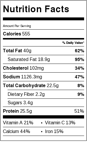 NUTRITION LABLE FOR PEPPERONI MEATBALL SUB CASSEROLE
