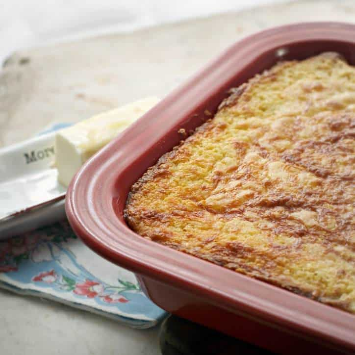 Southern Mexican Cornbread in the red ceramic baking pan