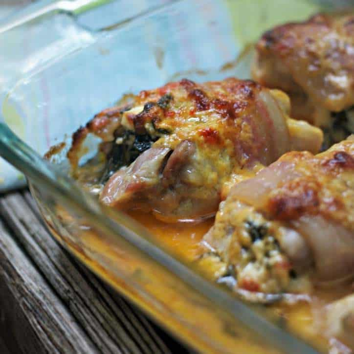 An extremely close up view of CREAMY SPINACH STUFFED PIMENTO CHEESE CHICKEN