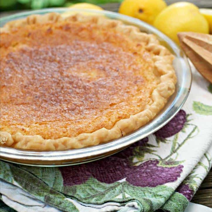 This is a photo of a whole Old Fashioned Lemon Chess Pie