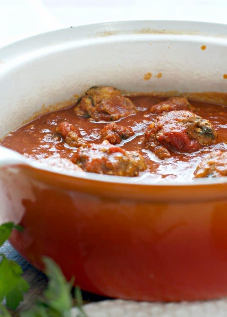 pot of meatballs