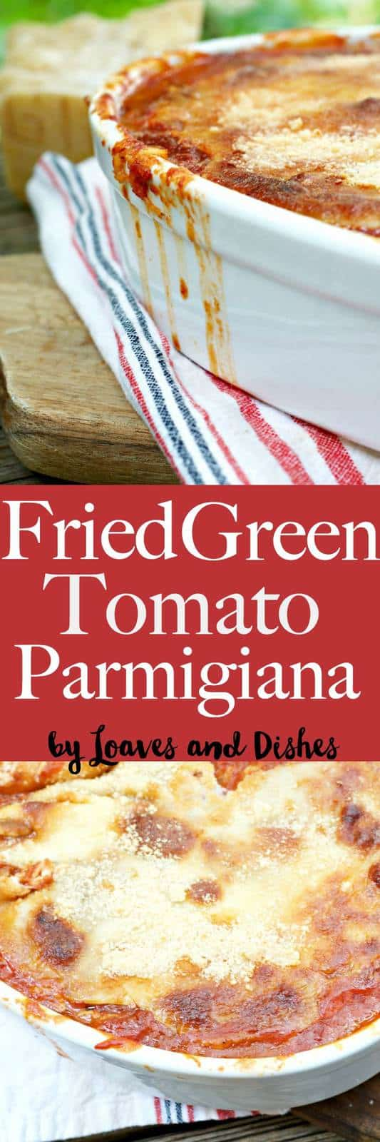 This recipe for Fried Green Tomato Parmigiana is similar to eggplant parm but uses delicious fresh garden green tomatoes for a Southern spin on a classic Italian dish that is yummy with cheese and is easy to do - but does take some time