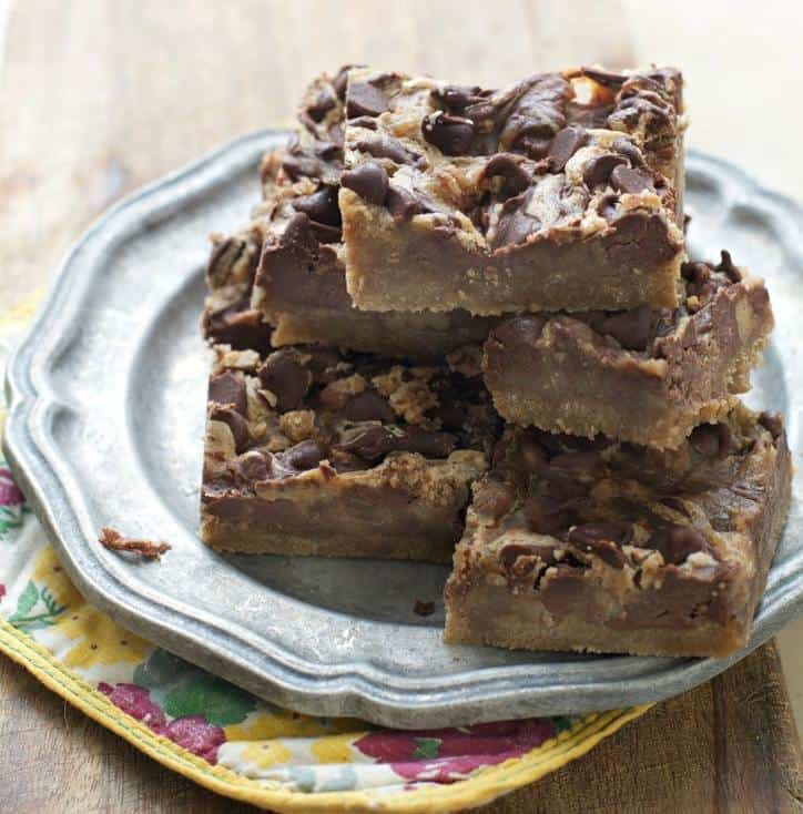 A photo from the side showing the layering in these Chocolate Blackout Bars
