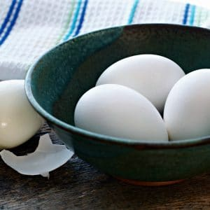 A photo of a bowl of eggs for THE SECRET TO EASY PEELING HARD BOILED EGGS