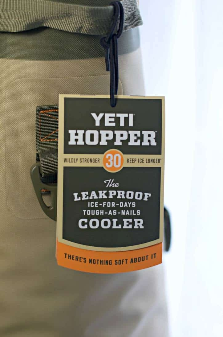 A photo of the tag on the YETI COOLEr