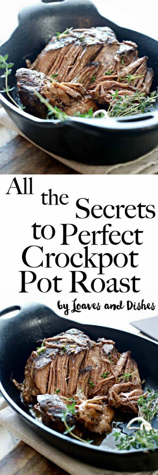 Want to know how to make a perfect tender slow cooked beef pot roast in the slow cooker using a chuck roast? All the answers are right here. This recipe is super easy and is simply the best! Like something you find on Pioneer woman but with no onion soup. Quick and delicious!