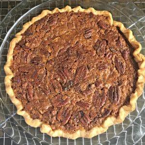 Overhead view of the whole pie Fudge Chocolate Pecan Pie
