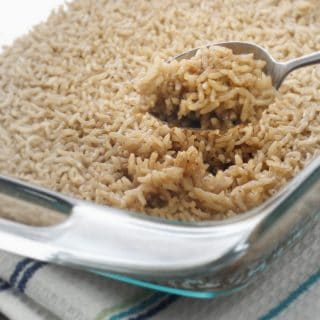 A photo of a spoonful of Mom's Holiday Brown Rice