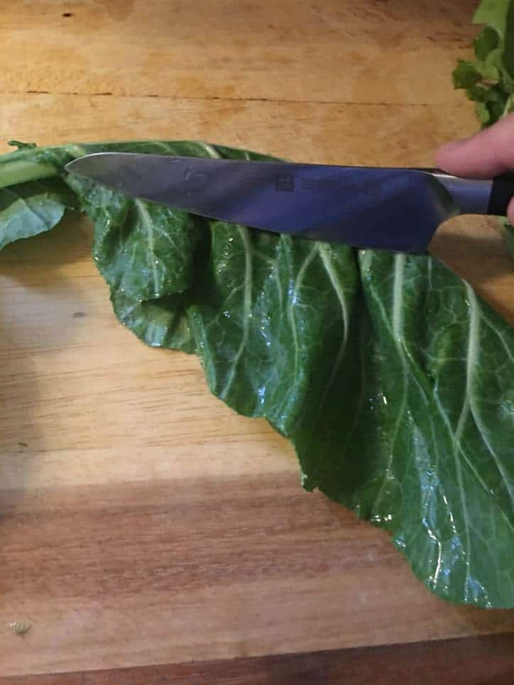 Showing the technique for cutting the stem out of the leaf.