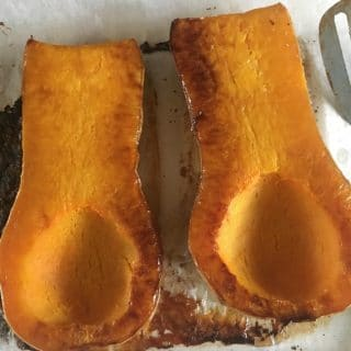 A photo of the flesh side of the roasted squash
