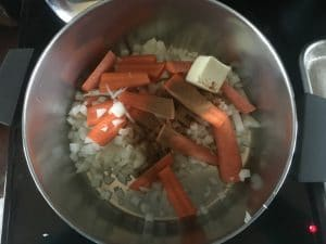 A photo of the beginnings of the soup