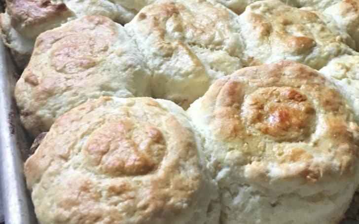 A close up photo of the biscuits fresh out of the oven Southern Buttermilk Biscuits