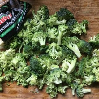 Photo of broccoli chopped and ready for blanching BAKED POTATO CASSEROLE