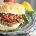 Up close photo of the side of a Lexington Style Crock Pot Pulled Pork Barbecue sandwich